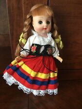 """Vintage Doll Sleep Eyes 5"""" Ethnic Swiss Outfit Made In Hong Kong Braids"""