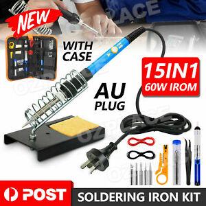 15IN1 Soldering Iron Kit 60W Electronics Welding Tool Adjustable Temperature OZ