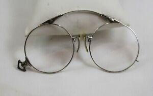 Vintage Streamline Fold Up Nose Bridge Wire Rimmed Eye Glasses - No Case