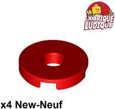 Lego - 4x Tile Round plaque lisse trou hole 2x2 rouge/red 15535 NEUF