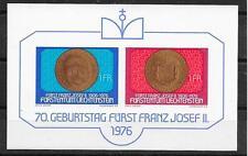 LIECHTENSTEIN/ Münzen auf Briefmarken MiNr Block 10 **