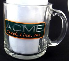 ACME Truck Lines Inc Heavy Glass Coffee Cup Mug Transportation Advertising