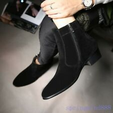 Mens Ankle Boots Pointed Toe High Top Shoes Chunky Heels Suede Chelsea Shoes NEW
