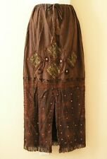 G17 Gothic Hippie Gypsy Patchwork Renaissance Heavily Embroidered Long Skirt - M