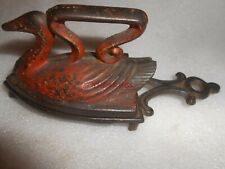 Early Cast Iron Swan Sad Iron in Old Red Paint