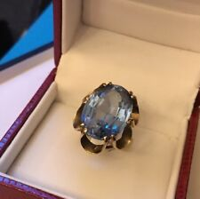 Vintage 9ct 9k Gold Very Large Oval Blue Topaz Solitaire Ring Showstopper Size M