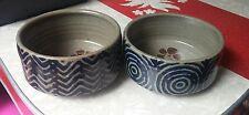 "2 HARRIET COHEN Studio Pottery Bowls 9.75"" Mid-Century Modern Hearts Michael"