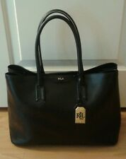 Ralph lauren tate black leather city tote large handbag