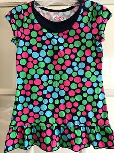 NWT Girls Circo Top, Size S (6-6x), Navy With Pink, Green And Light Blue Dots
