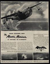1944 Wwii - Martin Mariner U.S. Navy Airplane - Poison To U-Boats - Vintage Ad
