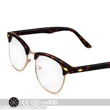Tortoise Gold Vintage 80s Clubmaster Clear Lens Hipster Nerd Glasses S012