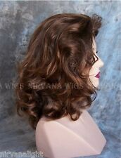 Warm Brown w Auburn Tips Lots of Volume Medium Length Drag/Mens Wig