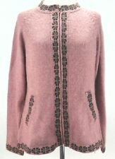 ALPACA Sweater Alpaca Blend CARDIGAN Pink Brown PERU Zip Front Women's XL RARE