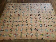 Antique Feedsack Hand Quilted Depression Era Patchwork Quilt 72 X 88 Exceptional