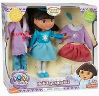 Fisher Price Dora Holiday Sparkle Doll Set with Special Edition Pajama Set NEW