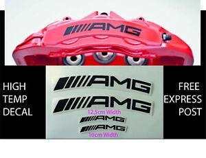 AMG BRAKE CALIPER DECAL HIGH TEMP (12cm & 10cm) Black Curved Sticker Set x 4