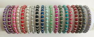 Elastic Glass Pearl & Diamante Rondelle Bead Bracelet 6mm - 20 Colours