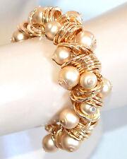 BRACCIALE ORO donna dorato ciondoli sfere satinato lucido cerimonia bracelet A88