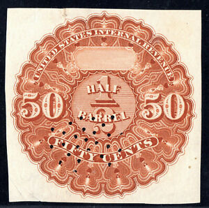 Beer Stamp 1867 REA11 50 cent Orange Brown Used half 1/2 Barrel