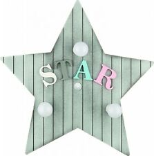 Lámpara Pared dormitorio infantil Estrella Madera 3xe14 Decoración Tipo de letra