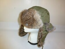 Lake of the Isles Green Rabbit Fur Insulated Bomber Aviator Hat - Size L