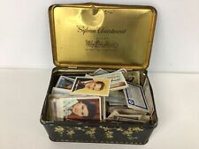 Old Hinged Confectionery Tin Full of Collectable Cards Mostly Atlantic Cards#402
