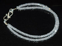 "White Zircon Gemstone 925 Sterling Silver 2 Layer Bracelet 5-10"" Round Cut Beads"
