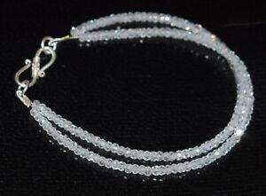 "Weiße Zirkon Edelstein 925 Sterling Silber 2 Schicht Bracelet 5-10"" 3mm Perlen ujh54"