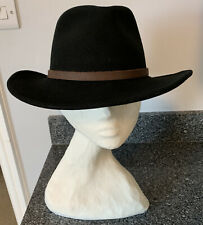 Olney Soffelt E158 Outback Black All Seasons Fedora Felt Hat Showerproof Large