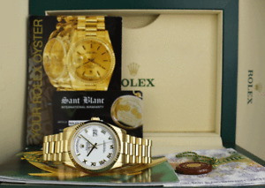 ROLEX - 36mm Mens 18kt Gold DAY DATE President White Roman 118238 - SANT BLANC