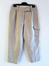Easton Pearson Sz 8 Champagne Gold Linen Blend High Waist Relaxed Fit Crop Pants