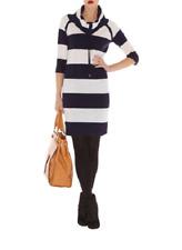KAREN MILLEN SPORTY STRIPE KNIT DRESS 1 Drawstring Cowl Neck Jumper Wool Tunic