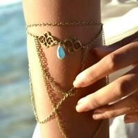 Retro Bronze Arm Slave Harness Tassel Chain Upper Cuff Armband Armlet Bracelet