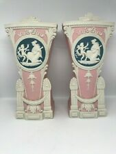 Schafer & Vater Pink Jasperware Cameo Of Mother & Cherub-Mantel Vases-Set Of Two