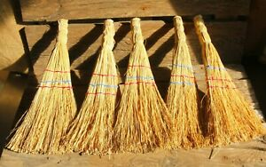 ONE ! Hand Made Small 38 cm NATURAL CORN HAND WHISK BROOM - country decor