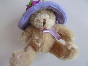 """Small Plush Teddy Bear 6"""" - with Big Purple Hat 4"""" with Roses"""
