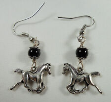 Cowgirl Earrings, Running Horse w/ Black Onyx Gemstone Tibetan Silver, Handmade