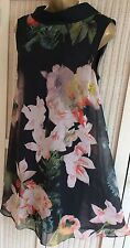 *TED BAKER Georgah Size 3 10 12 Opulent Bloom Floral Black Dress Party Wedding