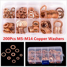 200x M5-M14 Solid Copper Washers Professional Flat Ring Oil Seal Gasket Assorted