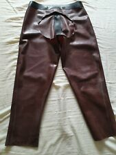 Mens Thick Backless Brown Rubber Jeans by DVote 2 Way Front Zip Gay Fetish Int M