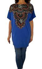 STELLA McCARTNEY 42 8 6 blue print dolman sleeve boat neck tunic knit dress