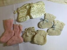 Vintage Hand Made Knitted Quilted Baby Booties