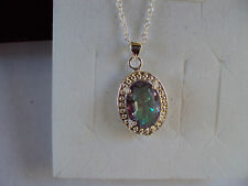 """Mystic topaz 12x10mm sterling silver necklace 18""""  DAD4222"""