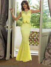 Elegant Yellow Floral Lace Mermaid Evening Gown Prom,Cocktail Size M UK 8-10