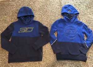 Lot Of 2 Boys Under Armour Steph Curry Hooded Sweat Shirt Clothes Size YLG 14