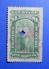 1893 $1.00 CANADA QUEBEC LAW REVENUE VD # QL43 B # 41 USED               CS32115