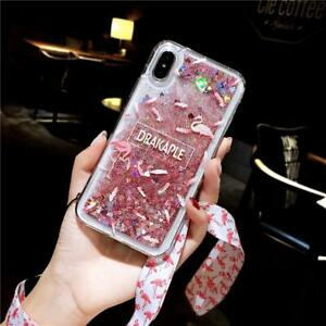 Liquid Crystal Glitter Bling Flamingo Heart Cover Case for iPhone XR XS 11 7 8