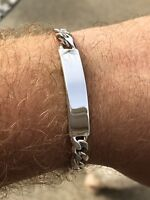 "Mens Miami Cuban ID Cuff Link Bracelet Solid 925 Sterling Silver 8.5"" 9mm 25g"