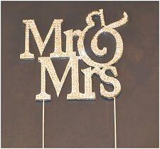 """Mr & Mrs"" Crystal Rhinestone Silver Cake Topper"