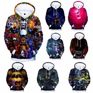 Kids Adult Five Nights At Freddy's 3D Pullover Sweatshirt Hooded Hoodie Coat Top